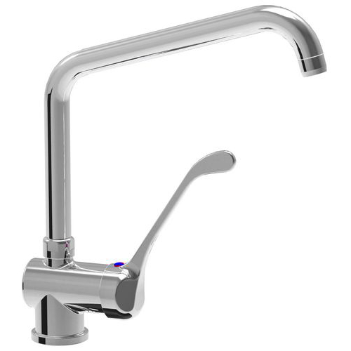 Monobloc single lever horizontal mixer tap with adjustable spout 24