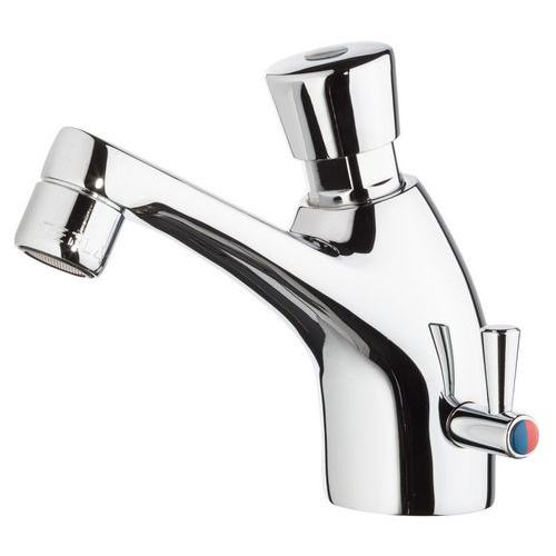 Push-button mixer tap with time control